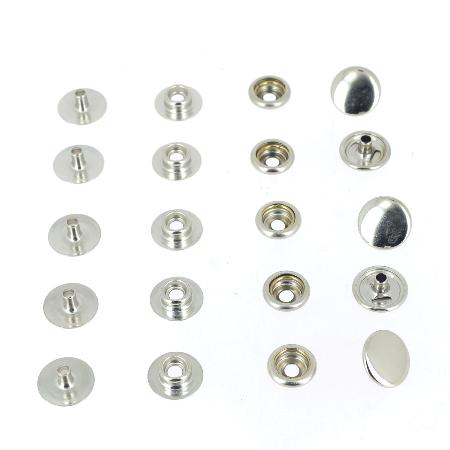5 boutons pression DOUBLE MATAGE en laiton NICKELE -  d = 12,5 mm
