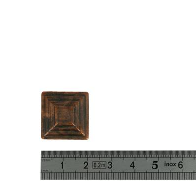 Concho PYRAMIDE MAYA - 20 x 20 mm - Vieux cuivre
