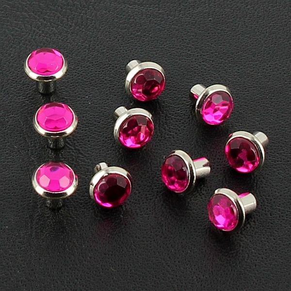 lot de 10 rivets strass moyen rose fuchsia. Black Bedroom Furniture Sets. Home Design Ideas