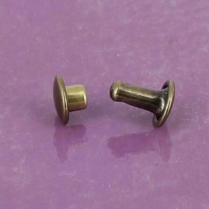 Lot de 20 rivets moyen DOUBLE CALOTTE en laiton (T3) finition laiton vieilli