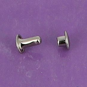 Lot de 100 rivets moyen DOUBLE CALOTTE en laiton (T3) finition Nickelé