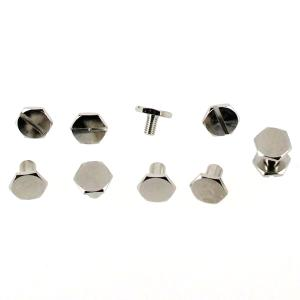 Lot de 5 vis CHICAGO hexagonales - NICKELE - 8 mm de diamètre