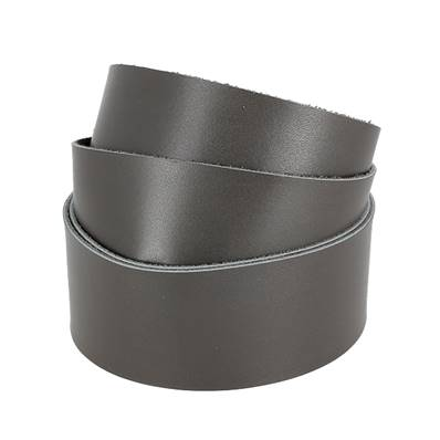 Sangle GRIS - Veau lisse type BOX - Largeur 38 mm