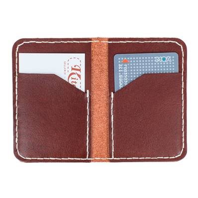 KitenCuir Porte Cartes double Marron Acajou - Fil écru