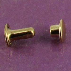 Lot de 20 rivets moyen DOUBLE CALOTTE en laiton (T3) finition laiton