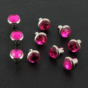 Lot de 10 rivets strass moyen - ROSE FUCHSIA